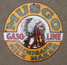 old Musgo Gasoline porcelain sign