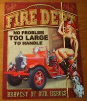 FIRE DEPARTMENT - Classic Fire Engine Fireman Woman & Dalmatian Decor Sign NEW