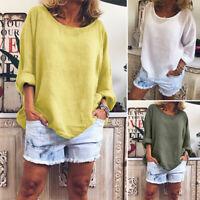 ZANZEA 8-24 Women Plus Size Blouse Plain Basic Solid Pullover Top Tee T Shirt