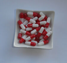 100 Empty  RED and WHITE size 2 capsules self fill  Gelatine gelatin