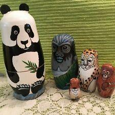 5 pc Animal Nesting Dolls,Panda,Gorilla, Leopard,Orangutan, Pika Matryoshka