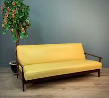 Attractive Large Retro Leather & Teak Daybed Sofabed Settee