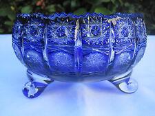 "Vintage Bohemia Cobalt Blue Queen Lace Hand Cut 24% Lead Crystal Bowl 6.5"" Nib"