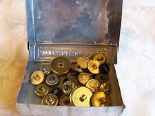ANTIQUE WORLD WAR 11 MILITARY ARMY NAVY BUTTON LOT IN BOX DATE READS 1902