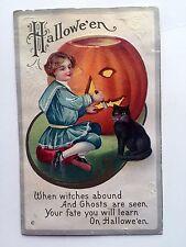 Vintage Halloween Postcard Girl Carving Pumpkin w/ Black cat