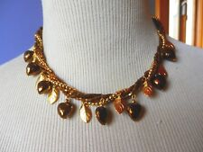 Bead Leaf Necklace. Coppery Gold Tone Twisted