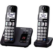 Panasonic KX-TGE232B 2 Cordless Handset Digital Caller ID Office Phone Black NEW