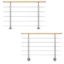 DOLLE Geländer Set Aluminium Handlauf Holz Buche Treppe Brüstung Innen 150 cm