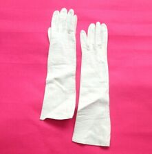 rockabilly pin up vintage white leather elbow opera gloves size 6