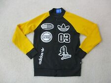 Adidas Jacket Adult Small Black Yellow Trefoil Button Front Varsity Coat Mens *