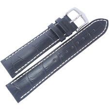 22mm Hirsch Modena Mens Navy Blue Alligator-Grain Leather Watch Band Strap