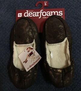 WOMEN'S DEARFOAMS SLIP-ON SLIPPERS SIZE SMALL (5-6) BROWN Indoor-out Soles