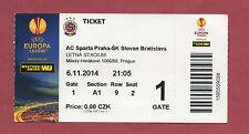 Orig.Ticket   Europa League 14/15   AC SPARTA PRAG - SLOVAN BRATISLAVA ! SELTEN