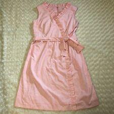 Vanda Fashions Key West Hand Print Ladies Dress Pink White Size 18 Ruffle Bow