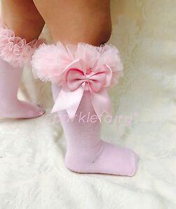 PERFECT PRINCESS Spanish Double Bow Knee High Tutu Socks. Baby/Girl/Party