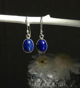 315 Lapis Lazuli Solid 925 Sterling Silver Quality Oval Gemstone Earrings rrp$40