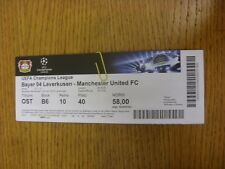 27/11/2013 Ticket: Bayer Leverkusen v Manchester United [Champions League] . Tha