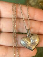 """Vintage Sterling Silver Double Side Etched Puffy Heart Pendant 20"""" Necklace"""
