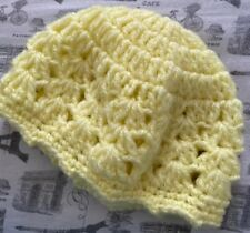 Adorable Crocheted Pale Yellow BaBy Newborn Infant Beanie Hat Comfy Unisex WoW!!