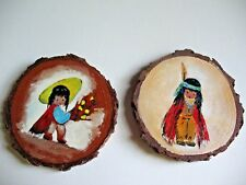 Hand painted wood slice painting coaster Vintage Native South American Motifs