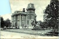 1907 DENISON TEXAS Washingto School First Free School  Grayson Co Postcard CN