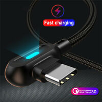For Samsung Note 10 Plus 90° Right Angle Type C USB LED Fast Charging Data Cable