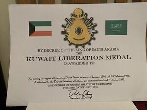 Gulf War Medal Certificate Kuwait Liberation Medal Certificate