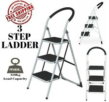 Multi Purpose 3 Step Ladder Domestic Household Office Foldable Steel Frame
