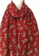 Gingerbread Man Scarf Ladies Large Red Ginger bread Men Wrap Cute Shawl
