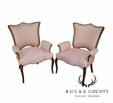 Antiques 1900-1950 Pair Of Dorthy Draper Hollywood Regency Feathered Arm Bronze Inlay Lounge Chairs