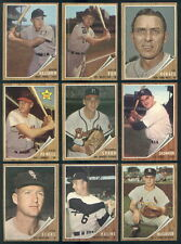 (39875) 1962 Topps Baseball Partial Set Spahn Drysdale Kaline Robinson Yankees