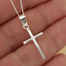 Solid 925 Sterling Silver Plain Cross Crucifix Pendant Chain Necklace Jewellery