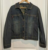 Chico's Denim Jean Jacket Blazer Size 2 Womens Cotton/Spandex COMFORTABLE