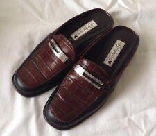 Brighton Jodi Brown Black Leather Slip On Mules Shoes Size 6.5M