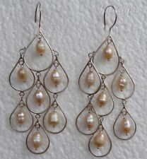 Seven Pearl Beads Solid Silver, 925 Balinese Long Dangle Earring 29233