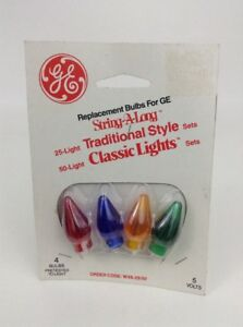 Vintage GE Colored String A Long Classic Replacement Bulbs and Covers New Sealed