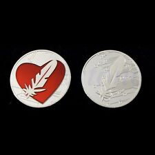 Feather Coin Like Bitcoin Gold Plated Red Heart Love Feathercoin Commemorative