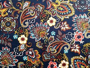 """0.5M Navy Blue Floral Paisley Fabric Cotton Poplin Patchwork Crafts 58"""" wide"""