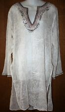 CHICOS Size 1 (M) Silk Sheer Beaded Long TUNIC TOP Side Slits NWOT Retail $189