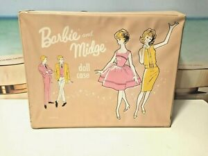 Vintage Pink Large Barbie Black Vinyl Carrying Case 1962