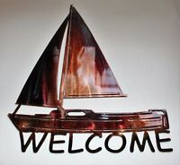 Sailboat Welcome Sign Metal Wall Art Decor