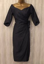 Bombshell Katya Wildman Blue Sweetheart Cotton Jean Occasion Wrap Dress 8 36