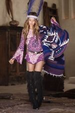Spell Designs Kiss The Sky Bell Sleeve Mini Dress In Violet- Size XS