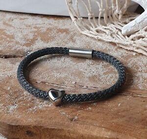 """Armband """"Herz"""" Segeltau 5mm Dunkelgrau mit Edelstahl Magnetverschluss"""