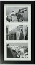 """7x14 Black Photo Wood Collage Frame with Mat displays (3) 4""""x6"""" pictures"""