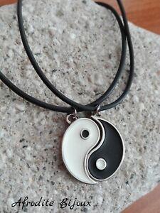 Collana Divisibile Yin & Yang Tao Doppia Caucciù Metà Best Friends Amicizia Zen