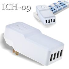 White 25W Multi USB 4 Port Wall Charger Rapid Station Charging For Apple Android