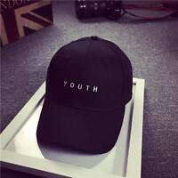 Unisex Embroidery Cotton Baseball Cap Boys Girls Snapback Hip Hop Flat Hat Black