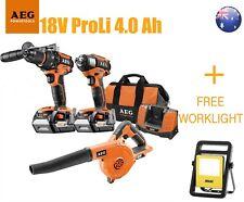 AEG 18V CORDLESS 3 PIECE COMBO PROLi 4.0Ah KIT +FREE ARLEC 1400 LUMENS WORKLIGHT