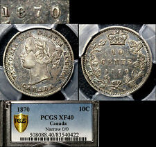 ELITE VARIETIES CANADA 10 cents - 1870 Triple Punched 0/0/0 - PCGS XF40 (a487)